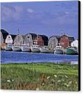 Fishing Shacks Line The Bay At Malpeque Canvas Print by Leanna Rathkelly