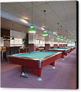 Five Pool Billiards Tables In A Row Canvas Print by Corepics