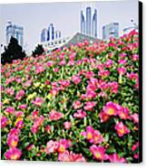 Flowers And Architecture Around Peoples Square Canvas Print by Jeremy Woodhouse