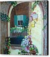 Flowers In Stone Doorway Canvas Print by Jeanene Miller