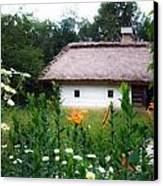 Flowers Near Rural House Canvas Print by Aleksandr Volkov