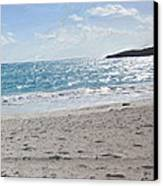 Footprints In The Sand Canvas Print by Wayne Bonney