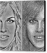 Four Interpretations Of Hilary Swank Canvas Print by J McCombie