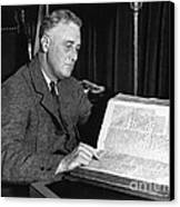 Franklin D. Roosevelt, 32nd American Canvas Print by Photo Researchers