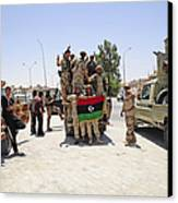 Free Libyan Army Troops Pose Canvas Print by Andrew Chittock