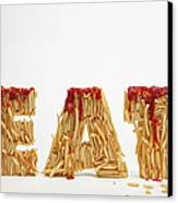 French Fries Molded To Make The Word Fat Canvas Print by Caspar Benson