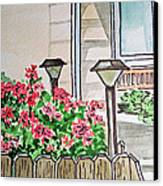 Front Yard Lights Sketchbook Project Down My Street Canvas Print by Irina Sztukowski