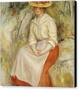 Gabrielle In A Straw Hat Canvas Print by Pierre Auguste Renoir