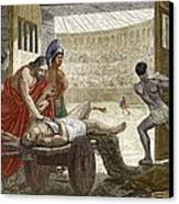 Galen Treating A Gladiator In Pergamum Canvas Print by Sheila Terry