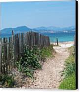 Ganivelles (fences) And Pathway To The Beach Canvas Print by Alexandre Fundone