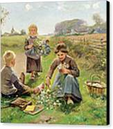 Gathering Flowers Canvas Print by Joseph Julien