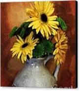 Gerber Yellow Daisies Canvas Print by Marsha Heiken