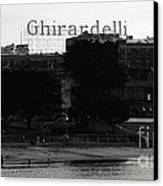 Ghirardelli Square In Black And White Canvas Print by Linda Woods