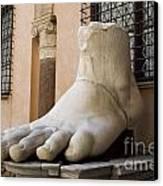 Giant Foot From Emperor Constantine Statue. Capitoline Museum. R Canvas Print by Bernard Jaubert