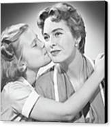Girl (8-9) Kissing Mother, (b&w) Canvas Print by George Marks