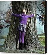 Girl Hugging Tree Trunk Canvas Print by Joana Kruse