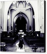 Girl In The Church Canvas Print by Jenny Rainbow