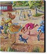 Girls Playing Horse Canvas Print by Dawn Senior-Trask