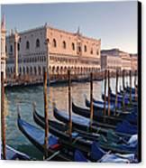 Gondolas Docked Outside Of Piazza San Canvas Print by Jim Richardson