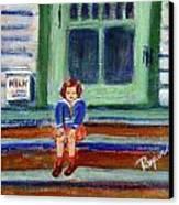 Grandma's Door Steps Canvas Print by Elzbieta Zemaitis