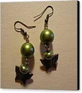 Green Butterfly Earrings Canvas Print by Jenna Green