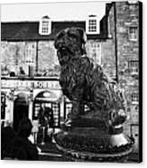 Greyfriars Bobby Statue In Front Of The Bar Candlemaker Row Edinburgh Canvas Print by Joe Fox