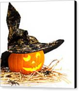 Halloween Pumpkin With Witches Hat Canvas Print by Amanda Elwell