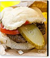 Hamburger With Pickle And Tomato Canvas Print by Elena Elisseeva