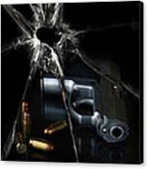 Handgun Bullets And Bullet Hole Canvas Print by Jill Battaglia