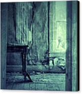 Hands On Window Of Creepy Old House Canvas Print by Jill Battaglia