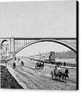 Harlem River Speedway Scene Beneath The George Washington Bridge Canvas Print by International  Images