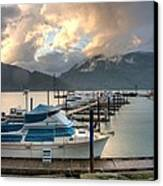 Harrison Lake At Dusk Canvas Print by Lawrence Christopher