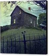 Haunted House On A Hill With Grunge Look Canvas Print by Sandra Cunningham