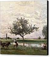 Haycart Beside A River  Canvas Print by Jean Baptiste Camille Corot