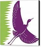 Heron Crane Flying Retro Canvas Print by Aloysius Patrimonio