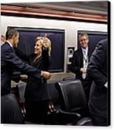 Hillary Clinton Joyfully Congratulates Canvas Print by Everett