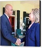 Hillary Clinton Meets With Haitian Canvas Print by Everett