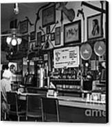 Historic Niles District In California Near Fremont . Bronco Billys Pizza Palace . 7d10707 . Bw Canvas Print by Wingsdomain Art and Photography