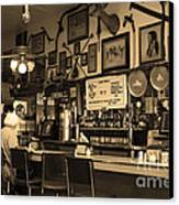 Historic Niles District In California Near Fremont . Bronco Billys Pizza Palace . 7d10707 . Sepia Canvas Print by Wingsdomain Art and Photography