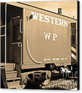 Historic Niles District In California Near Fremont . Western Pacific Caboose Train . 7d10627 . Sepia Canvas Print by Wingsdomain Art and Photography