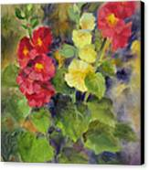 Hollyhocks Canvas Print by Karin  Leonard