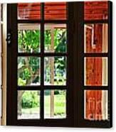 Home Garden Through Window Canvas Print by Sami Sarkis
