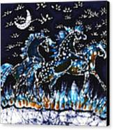 Horses Frolic On A Starlit Night Canvas Print by Carol Law Conklin