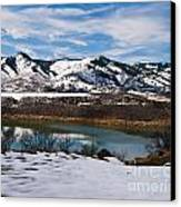 Horsetooth Reservoir Winter Scene Canvas Print by Harry Strharsky