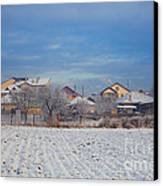 Houses In Winter Canvas Print by Gabriela Insuratelu