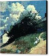 Houses On A Hill Canvas Print by Winslow Homer