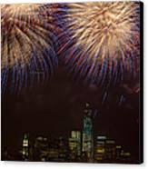 Hudson River Fireworks Xi Canvas Print by Clarence Holmes