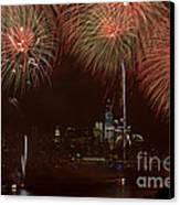 Hudson River Fireworks Xii Canvas Print by Clarence Holmes