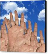 Human Hands And The Sky, Conceptual Image Canvas Print by Victor De Schwanberg