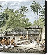 Human Sacrifice In Tahiti, Artwork Canvas Print by Sheila Terry